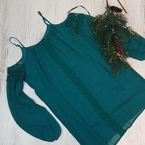 City Triangles Off Shoulder Sheer Mini Dress